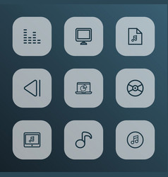 multimedia icons line style set with quarter vector image