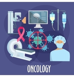 Oncology medicine flat icon for healthcare design vector