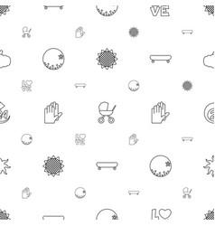 orange icons pattern seamless white background vector image