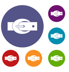 Oval belt buckle icons set vector