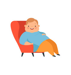 Overweight boy sitting in the chair cute chubby vector