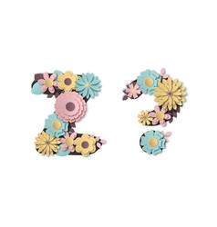 Paper art flower alphabet beautiful romantic vector