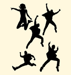 people jumping silhouette 03 vector image
