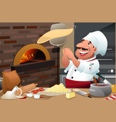 Pizza chef makes pizza dough vector