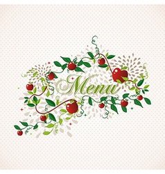 Red apples restaurant menu design vector image