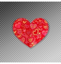 red ornate paper heart shape origami with shadow vector image