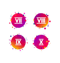 roman numeral icons number seven nine ten vector image