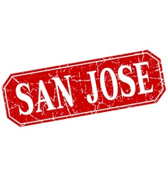 San Jose red square grunge retro style sign vector