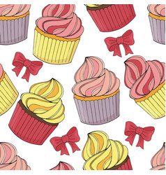 seamless pattern of different desserts cakes vector image