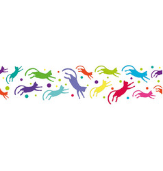 seamless pattern with colorful flying cats vector image