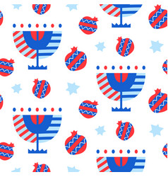 Seamless pattern with hanukkah icons vector