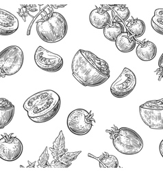 Seamless pattern with Tomato half and slice vector