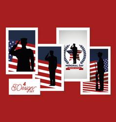 Set four designs happy memorial day vector