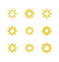 set glyph icons sun vector image