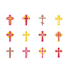 set of christian cross icon vector image