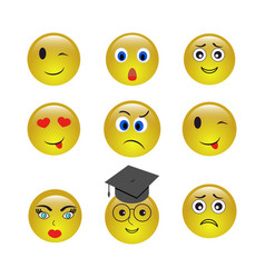 Set of emogy smiley icons vector
