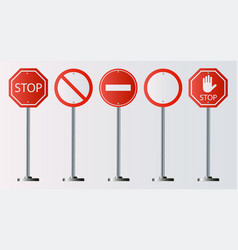 set of prohibiting sign signs of stop on white vector image