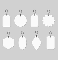 set white labels in different shapes with string vector image