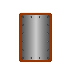 Sign shield silver rectangle 1608 vector