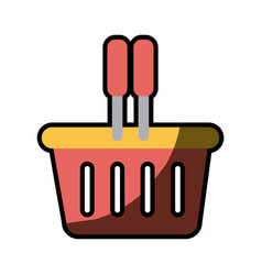 silhouette color with plastic shopping basket with vector image