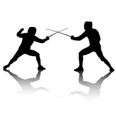 silhouettes of athletes fencers vector image