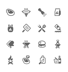 Simple Barbecue Icons vector image