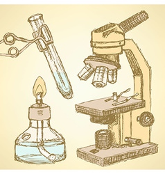 Sketch chemical set in vintage style vector image