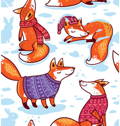 Snowy seamless pattern with cartoon foxes in cozy vector
