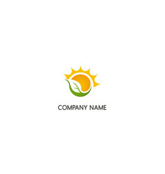 solar energy green leaf nature company logo vector image