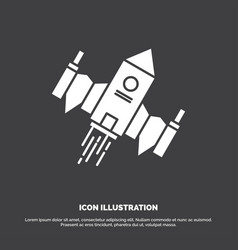 spacecraft spaceship ship space alien icon glyph vector image