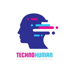 Techno human head logo concept vector