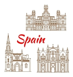 Thin line icons of Spanish landmarks vector