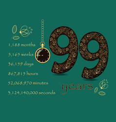 time counting card number 21 and pocket watch vector image