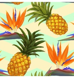 tropical exotic flowers and pineapple seamless vector image