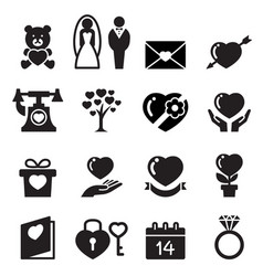 valentine day wedding love icons set vector image