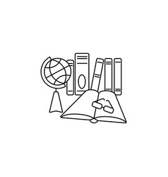 web line icon globe book and glasses education vector image