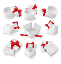 white open gift box mockup set isolated vector image