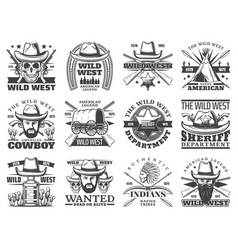 wild west icons cowboy skull sheriff bandit vector image