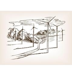 Wind power plant sketch vector image