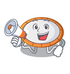 With megaphone trampoline jumping shape cartoon vector