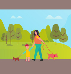woman and boy walking with pet green spring forest vector image