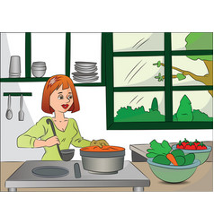 Woman cooking food vector