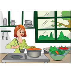 Woman cooking food vector