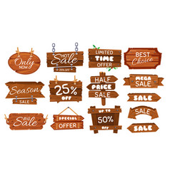 wooden sale sticker season sales sign wood board vector image