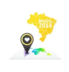 World map with a marker on brazil vector