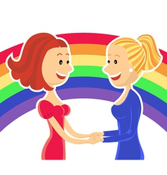 Young lesbian couple of women vector