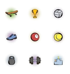 Accessories for training icons set pop-art style vector
