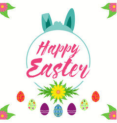easter bunny hiding behind a floral happy easter vector image