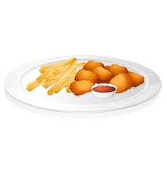 french fries cutlet and sauce vector image vector image