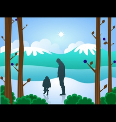 man and boy in snow vector image vector image